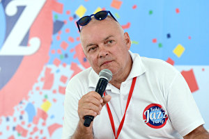 Rossiya Segodnya Director General Dmitry Kiselev at a news conference on the opening of theKoktebel Jazz Party – 2015 international jazz festival.